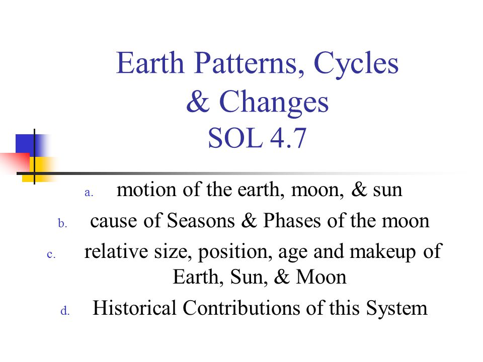 Earth Patterns, Cycles & Changes SOL 4.7 a. motion of the earth, moon, & sun b. cause of Seasons & Phases of the moon c. relative size, position, age