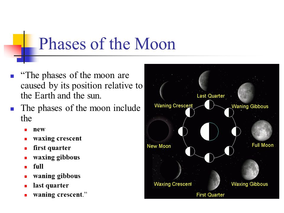 "Phases of the Moon ""The phases of the moon are caused by its position relative to the Earth and the sun. The phases of the moon include the new waxing"