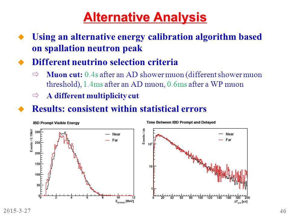 Alternative Analysis  Using an alternative energy calibration algorithm based on spallation neutron peak  Different neutrino selection criteria  Muon cut: 0.4s after an AD shower muon (different shower muon threshold), 1.4ms after an AD muon, 0.6ms after a WP muon  A different multiplicity cut  Results: consistent within statistical errors 2015-3-27 46
