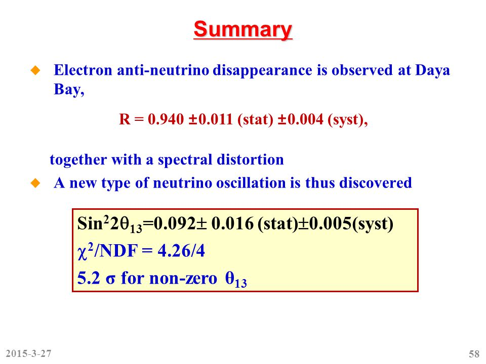 Summary  Electron anti-neutrino disappearance is observed at Daya Bay, together with a spectral distortion  A new type of neutrino oscillation is thus discovered R = 0.940 ±0.011 (stat) ±0.004 (syst), Sin 2 2  13 =0.092  0.016 (stat)  0.005(syst)  2 /NDF = 4.26/4 5.2 σ for non-zero θ 13 2015-3-27 58