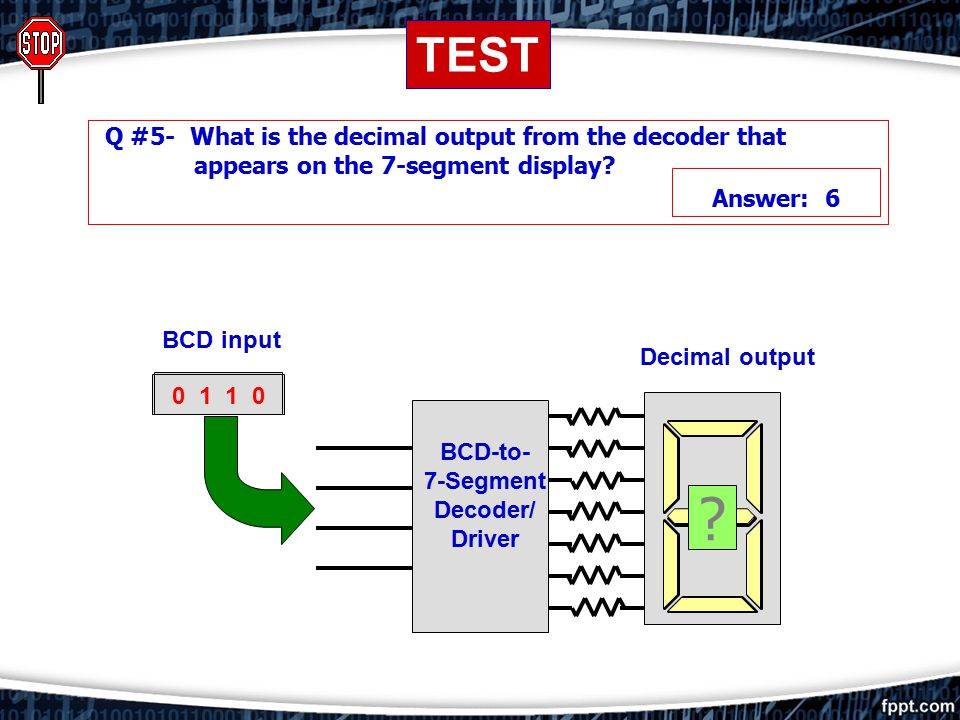 BCD-to- 7-Segment Decoder/ Driver DECODERS: BCD TO 7-SEGMENT DECODER/DRIVER BCD input 0 0 Decimal output LED 0 0 0 1 0 0 1 0 0 0 1 1 0 1 0 0 Electroni
