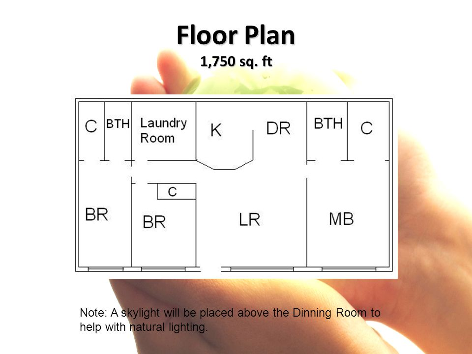 Floor Plan 1,750 sq. ft Note: A skylight will be placed above the Dinning Room to help with natural lighting.