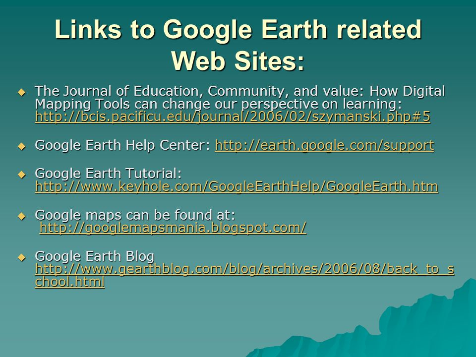 Links to Google Earth related Web Sites:  The Journal of Education, Community, and value: How Digital Mapping Tools can change our perspective on learning: http://bcis.pacificu.edu/journal/2006/02/szymanski.php#5 http://bcis.pacificu.edu/journal/2006/02/szymanski.php#5  Google Earth Help Center: http://earth.google.com/support http://earth.google.com/support  Google Earth Tutorial: http://www.keyhole.com/GoogleEarthHelp/GoogleEarth.htm http://www.keyhole.com/GoogleEarthHelp/GoogleEarth.htm  Google maps can be found at: http://googlemapsmania.blogspot.com/ http://googlemapsmania.blogspot.com/  Google Earth Blog http://www.gearthblog.com/blog/archives/2006/08/back_to_s chool.html http://www.gearthblog.com/blog/archives/2006/08/back_to_s chool.html http://www.gearthblog.com/blog/archives/2006/08/back_to_s chool.html
