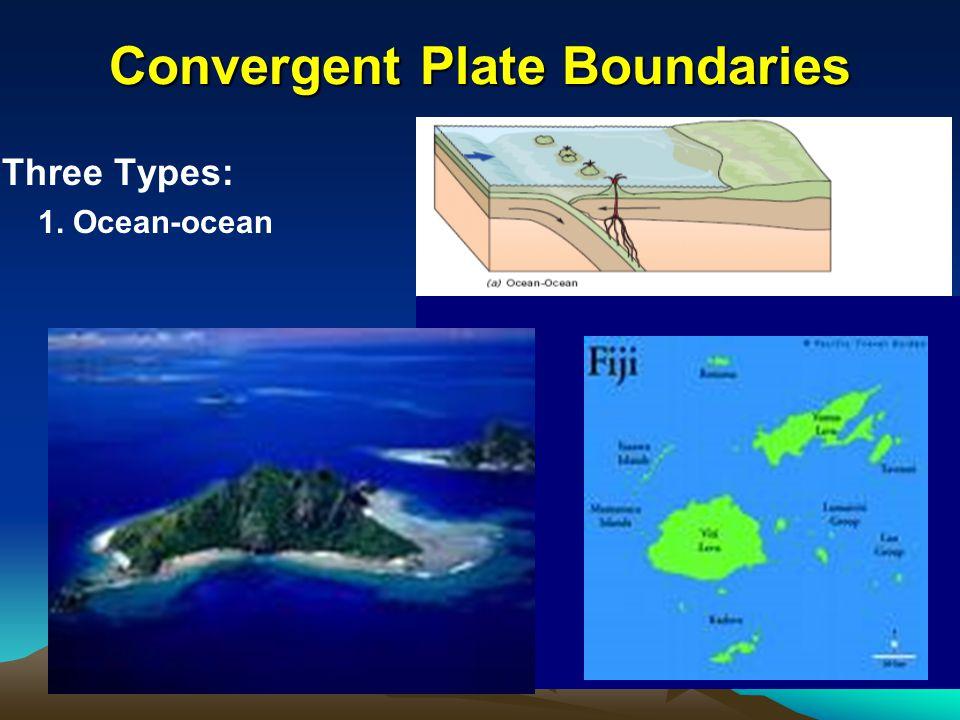 Convergent Plate Boundaries Three Types: 1. Ocean-ocean