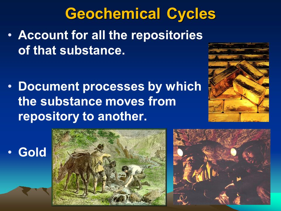 Geochemical Cycles Account for all the repositories of that substance.