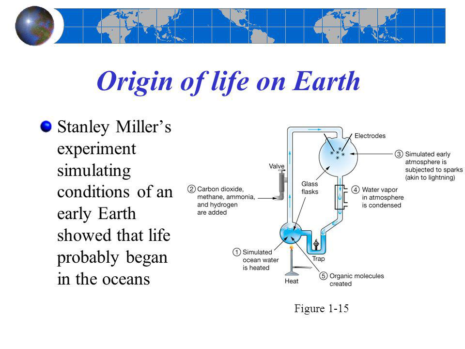 Origin of life on Earth Stanley Miller's experiment simulating conditions of an early Earth showed that life probably began in the oceans Figure 1-15