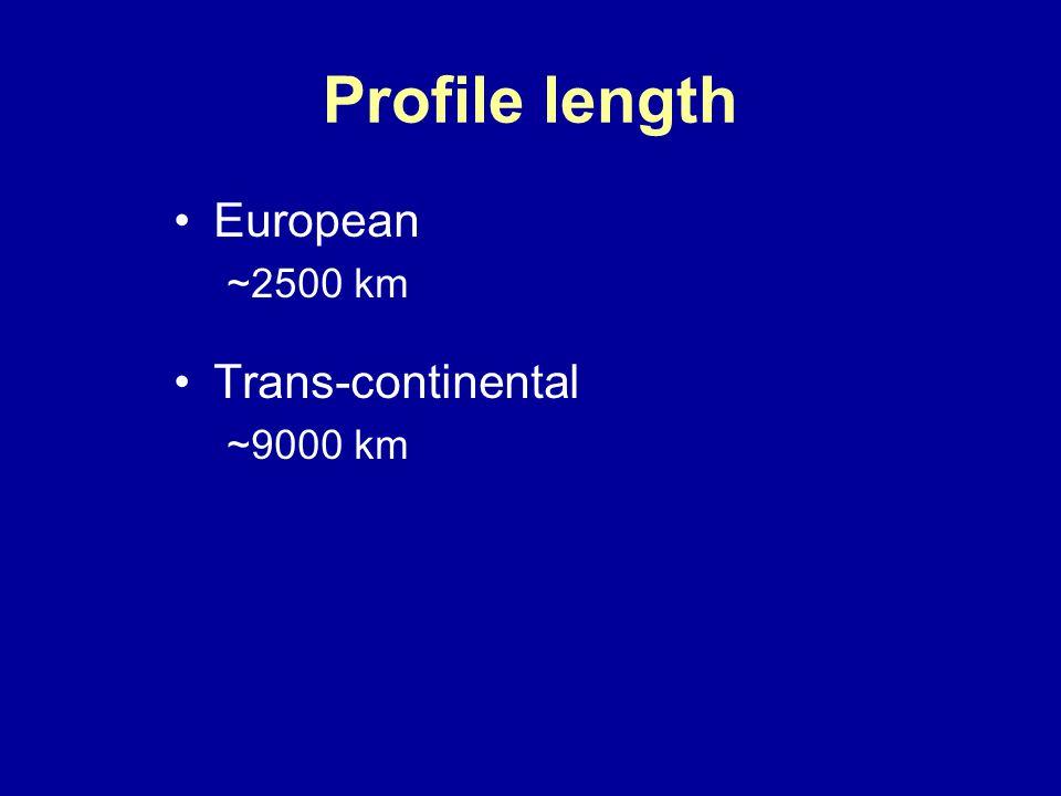 Profile length European ~2500 km Trans-continental ~9000 km