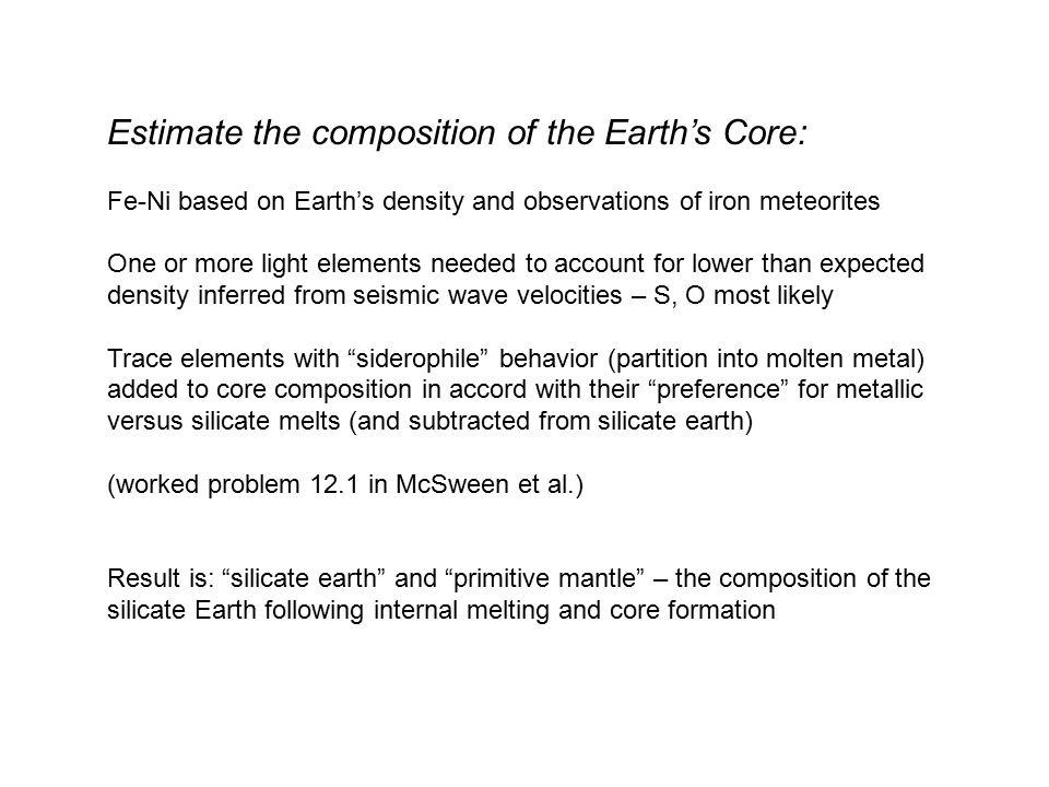 Estimate the composition of the Earth's Core: Fe-Ni based on Earth's density and observations of iron meteorites One or more light elements needed to