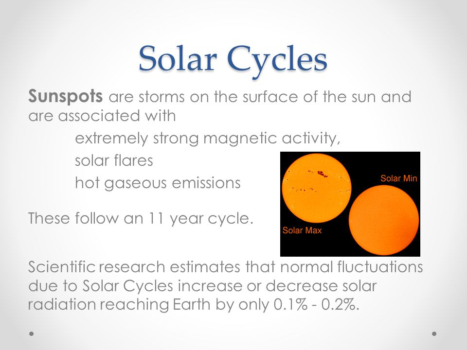 Solar Cycles Sunspots are storms on the surface of the sun and are associated with extremely strong magnetic activity, solar flares hot gaseous emissi