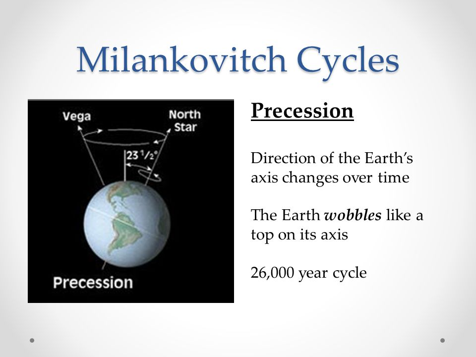 Milankovitch Cycles Obliquity The tilt angle of the Earth's axis changes over time The greater the tilt the greater the differences in the seasons.
