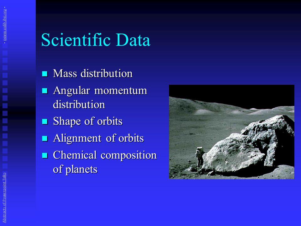 Scientific Data Mass distribution Mass distribution Angular momentum distribution Angular momentum distribution Shape of orbits Shape of orbits Alignm