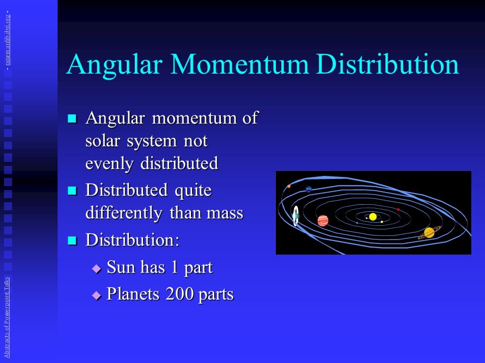 Angular Momentum Distribution Angular momentum of solar system not evenly distributed Angular momentum of solar system not evenly distributed Distributed quite differently than mass Distributed quite differently than mass Distribution: Distribution:  Sun has 1 part  Planets 200 parts Abstracts of Powerpoint Talks - newmanlib.ibri.org -newmanlib.ibri.org