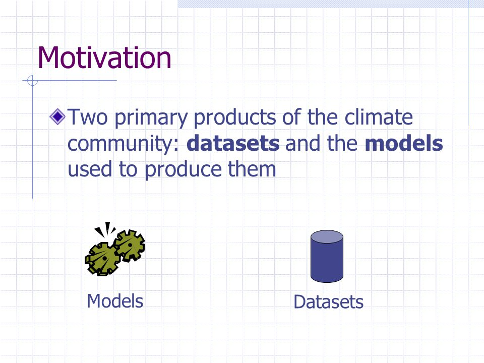 Motivation Two primary products of the climate community: datasets and the models used to produce them Models Datasets
