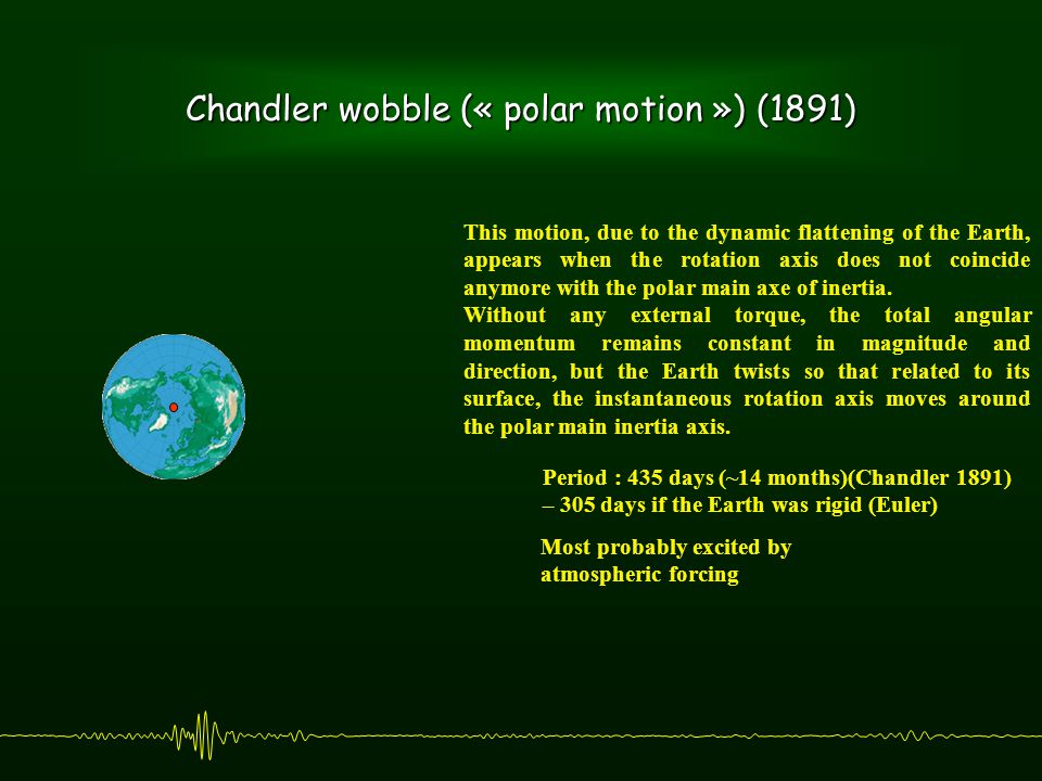 Chandler wobble (« polar motion ») (1891) This motion, due to the dynamic flattening of the Earth, appears when the rotation axis does not coincide anymore with the polar main axe of inertia.