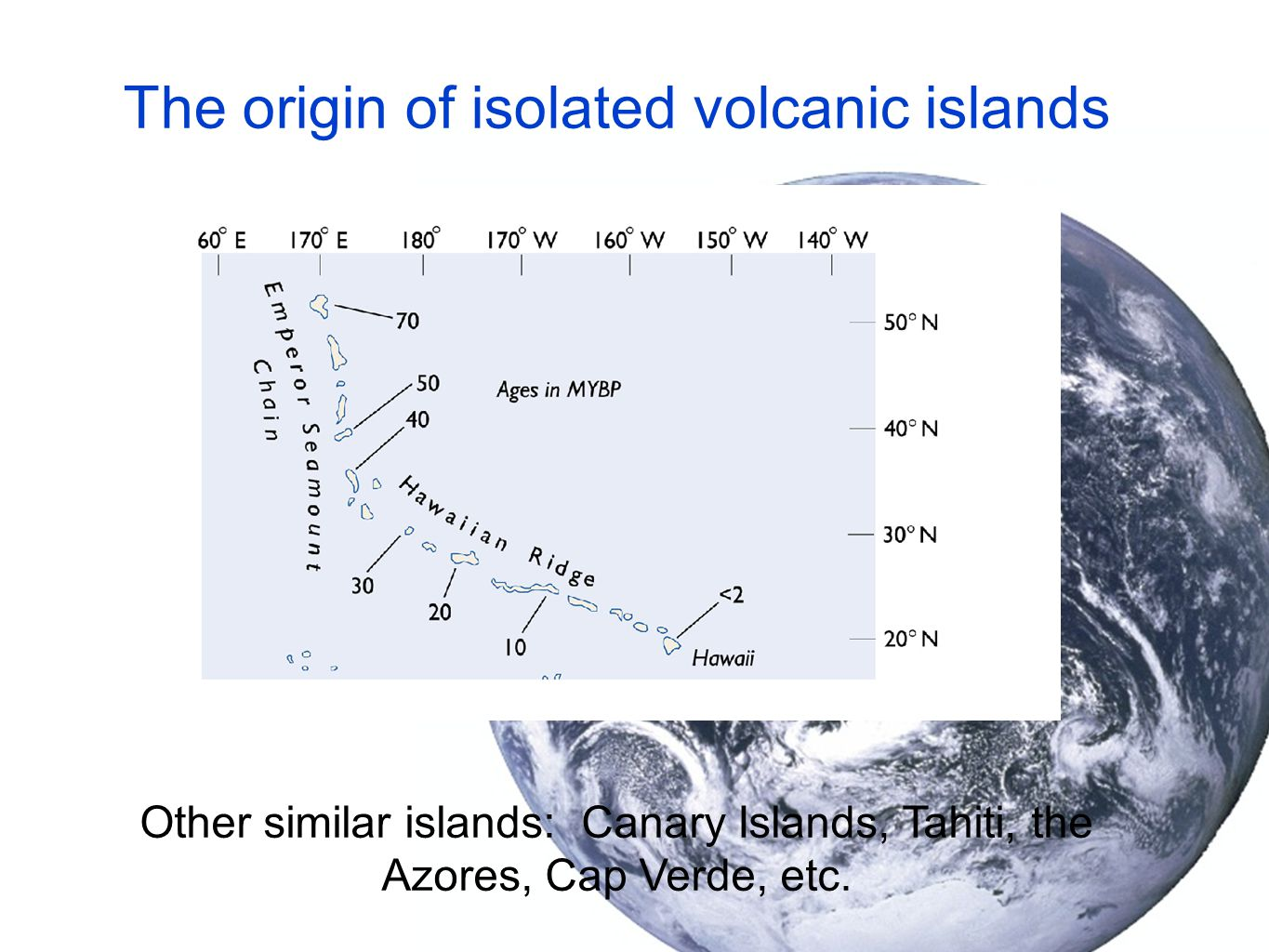 The origin of isolated volcanic islands Other similar islands: Canary Islands, Tahiti, the Azores, Cap Verde, etc.