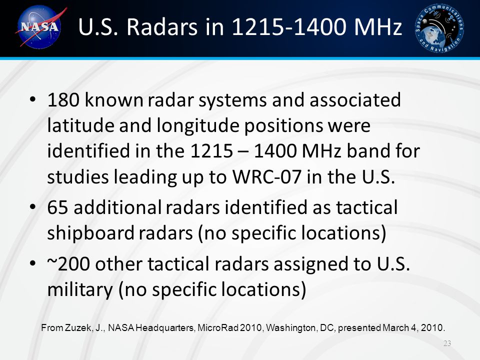 U.S. Radars in 1215-1400 MHz 180 known radar systems and associated latitude and longitude positions were identified in the 1215 – 1400 MHz band for s