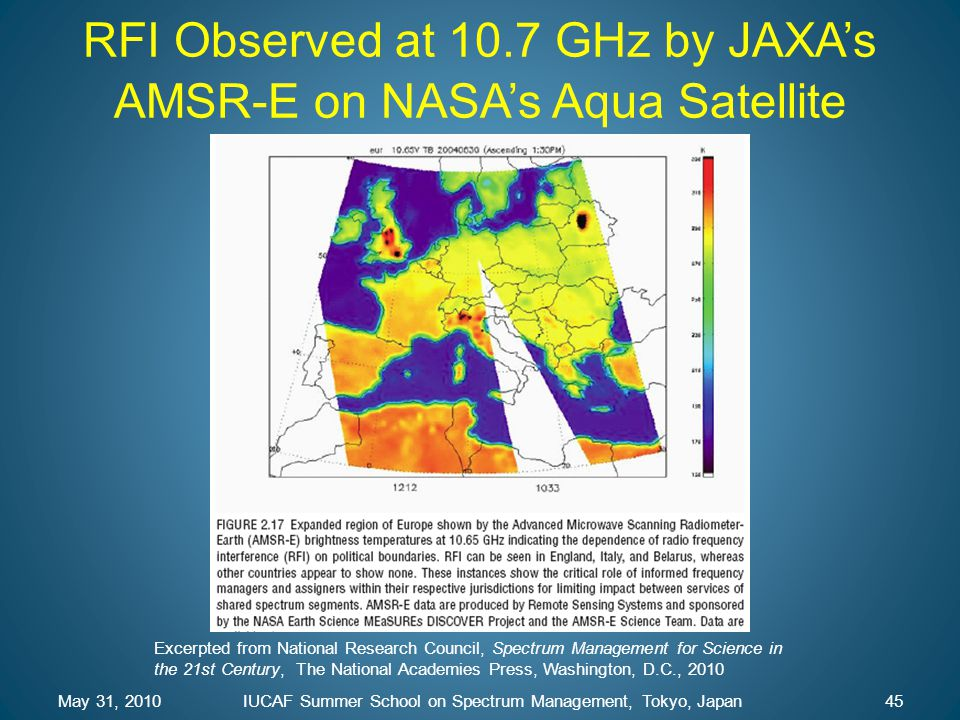May 31, 2010IUCAF Summer School on Spectrum Management, Tokyo, Japan45 RFI Observed at 10.7 GHz by JAXA's AMSR-E on NASA's Aqua Satellite Excerpted fr