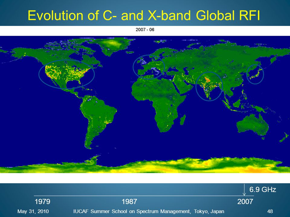 197919872007 6.9 GHz May 31, 201048IUCAF Summer School on Spectrum Management, Tokyo, Japan Evolution of C- and X-band Global RFI