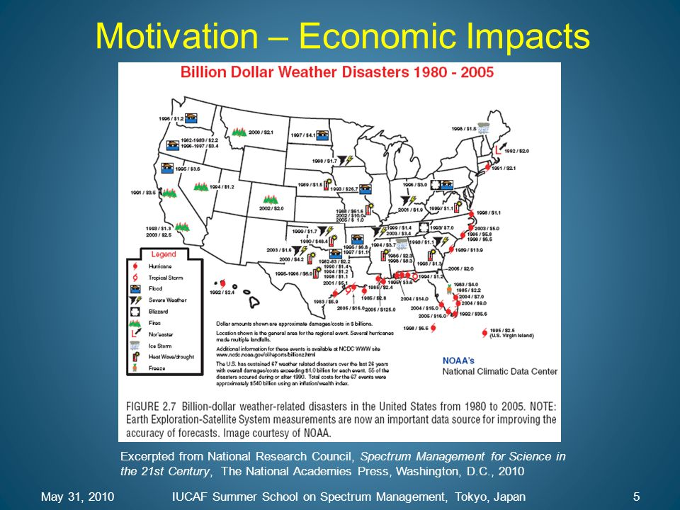 May 31, 2010IUCAF Summer School on Spectrum Management, Tokyo, Japan5 Motivation – Economic Impacts Excerpted from National Research Council, Spectrum