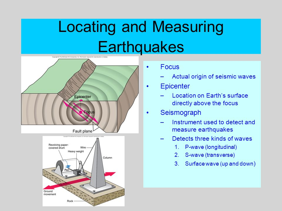 Locating and Measuring Earthquakes Focus –Actual origin of seismic waves Epicenter –Location on Earth's surface directly above the focus Seismograph –