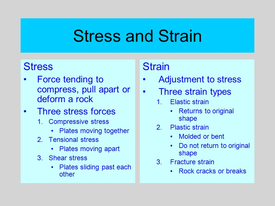 Stress and Deformation Possible material responses to stress 1.No change 2.Elastic change with recovery 3.Plastic change with no recovery 4.Breaking from the pressure Rock variables 1.Nature of the rock 2.Temperature of the rock 3.Speed of stress application 4.Confining pressure Interplay produces observed rock structures