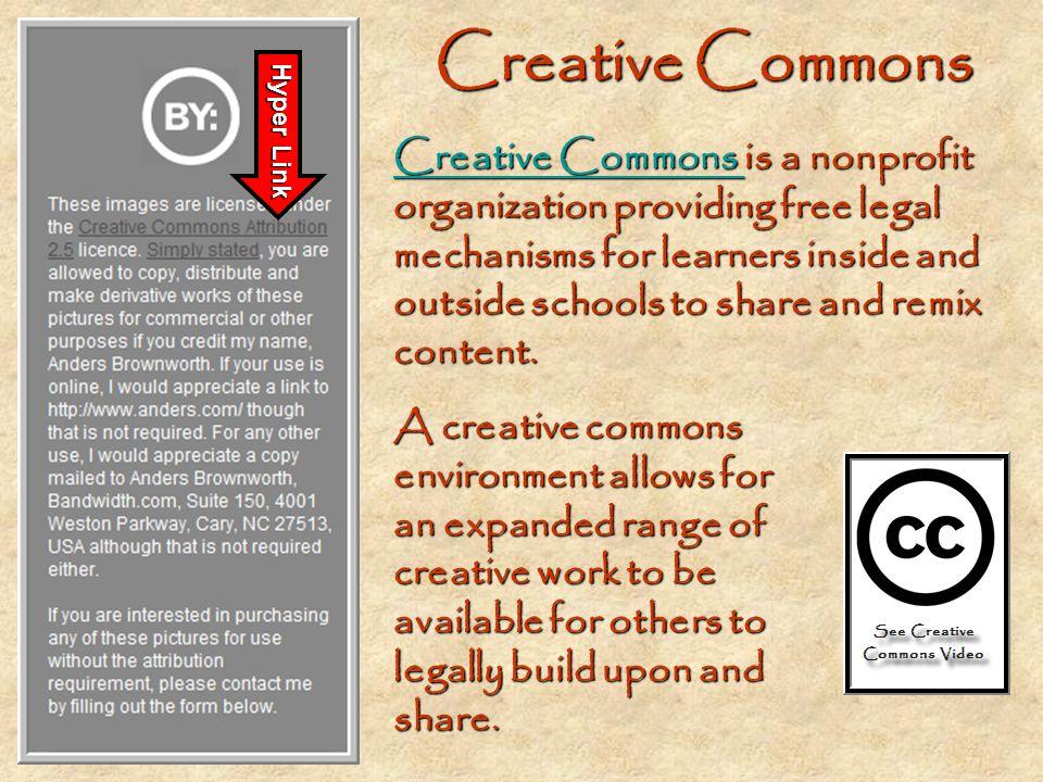 Creative Commons CCCC rrrr eeee aaaa tttt iiii vvvv eeee C C C C oooo mmmm mmmm oooo nnnn ssss i i i i is a nonprofit organization providing free lega