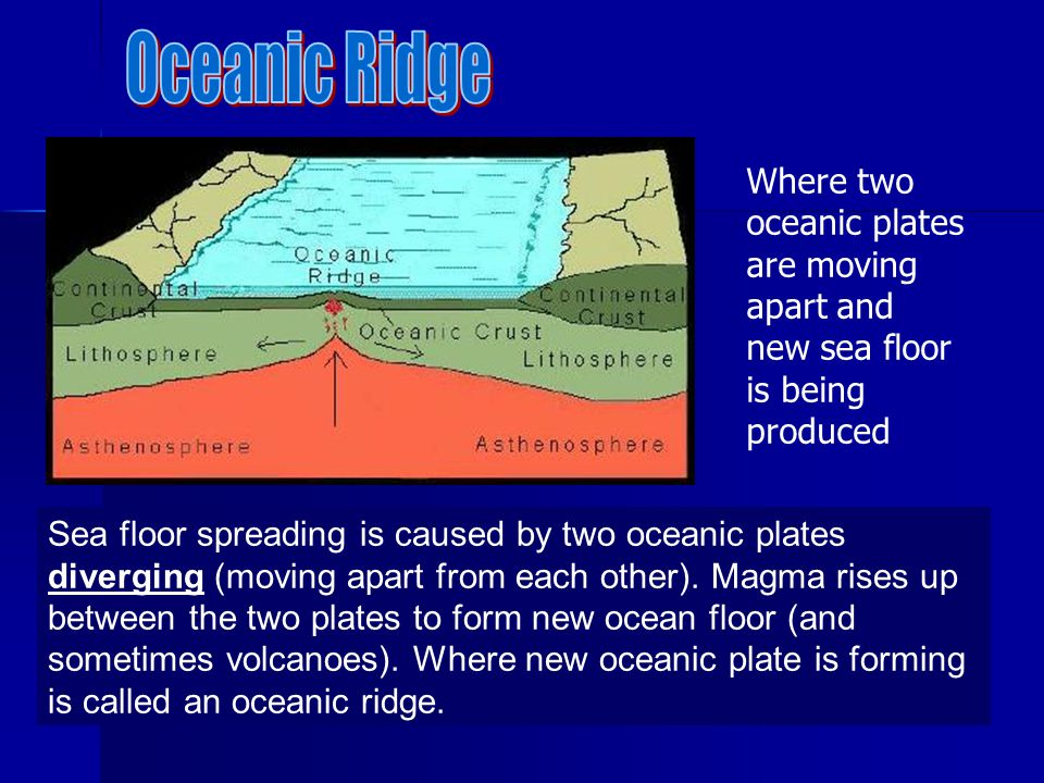 Sea floor spreading is caused by two oceanic plates diverging (moving apart from each other). Magma rises up between the two plates to form new ocean