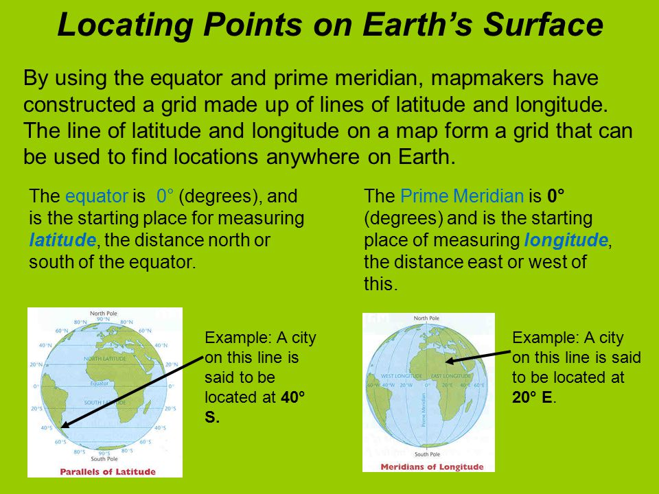 By using the equator and prime meridian, mapmakers have constructed a grid made up of lines of latitude and longitude.