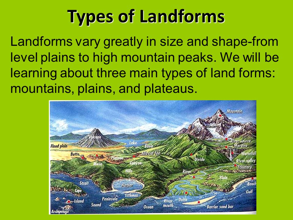 Types of Landforms Landforms vary greatly in size and shape-from level plains to high mountain peaks. We will be learning about three main types of la