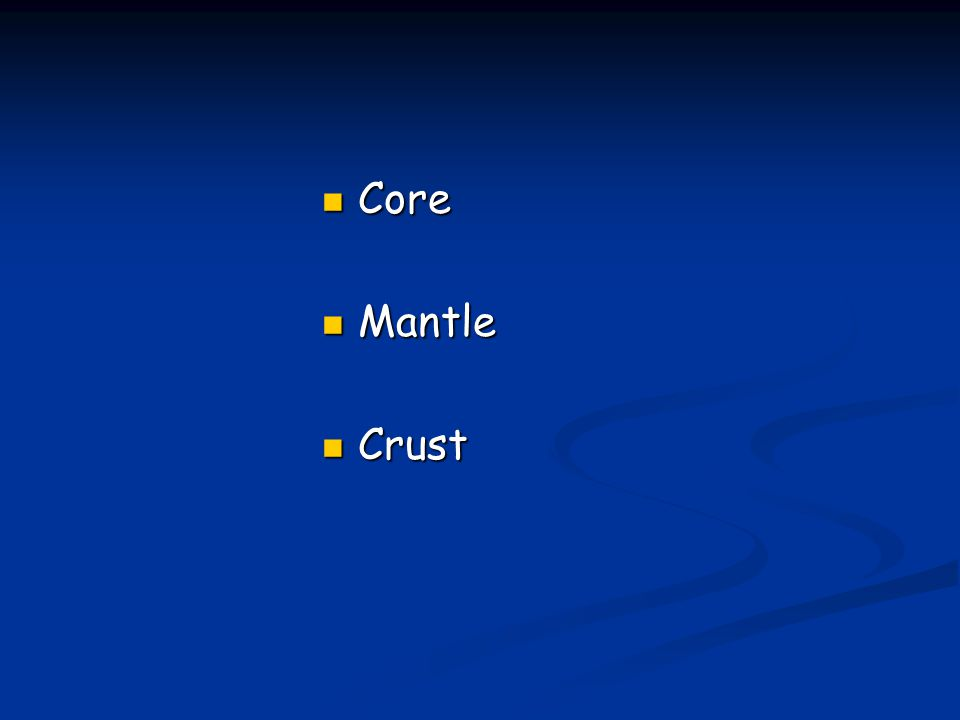 Core Core Mantle Mantle Crust Crust