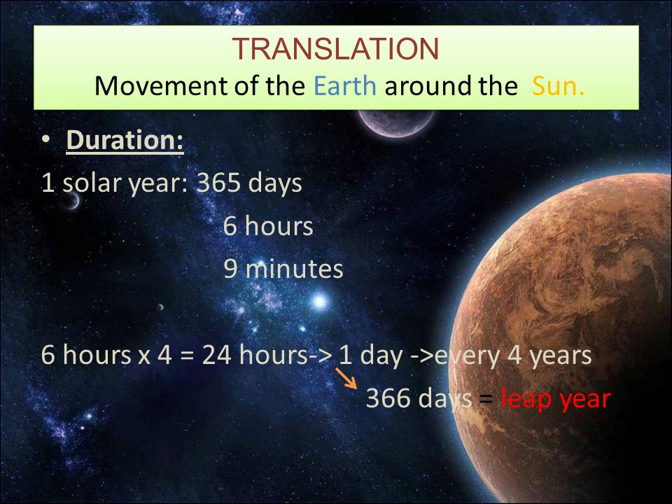 TRANSLATION Movement of the Earth around the Sun. Duration: 1 solar year: 365 days 6 hours 9 minutes 6 hours x 4 = 24 hours-> 1 day ->every 4 years 36
