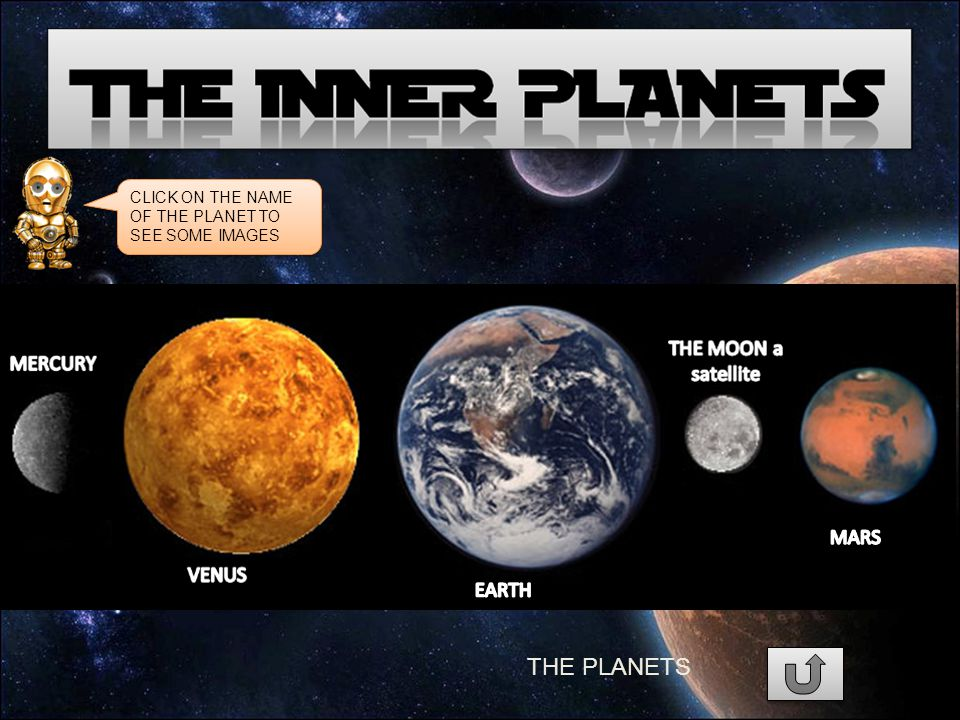 THE PLANETS CLICK ON THE NAME OF THE PLANET TO SEE SOME IMAGES