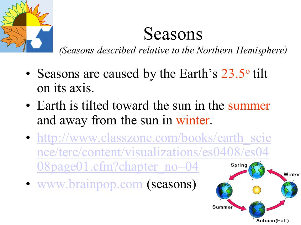 Summer We experience the season of summer when the North Pole is directed a full 23.5 o toward the sun Due to the positioning of the North, more direct rays of the sun are present in the summer There are longer periods of daylight and shorter nights in the summer