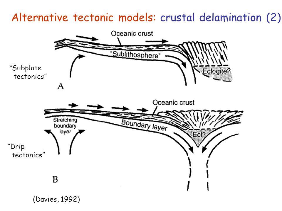 "Alternative tectonic models: crustal delamination (2) (Davies, 1992) ""Subplate tectonics"" ""Drip tectonics"""