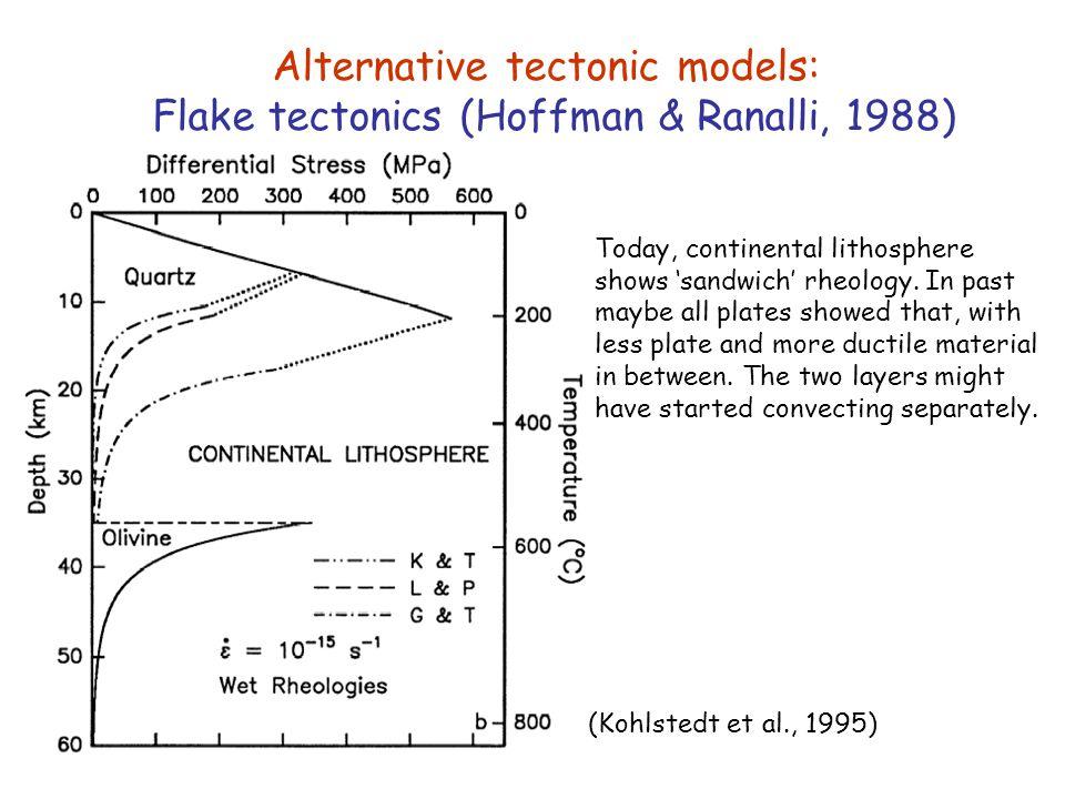 (Kohlstedt et al., 1995) Alternative tectonic models: Flake tectonics (Hoffman & Ranalli, 1988) Today, continental lithosphere shows 'sandwich' rheolo