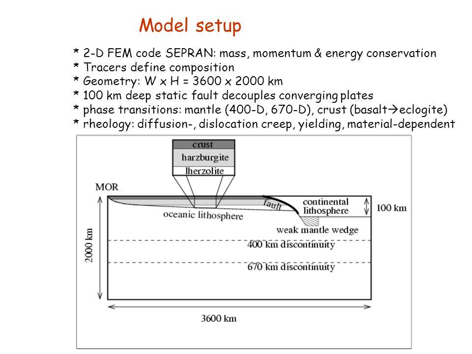Model setup * 2-D FEM code SEPRAN: mass, momentum & energy conservation * Tracers define composition * Geometry: W x H = 3600 x 2000 km * 100 km deep