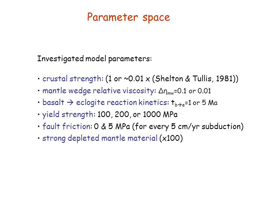 Parameter space Investigated model parameters: crustal strength: (1 or ~0.01 x (Shelton & Tullis, 1981)) mantle wedge relative viscosity: ∆ η mw =0.1