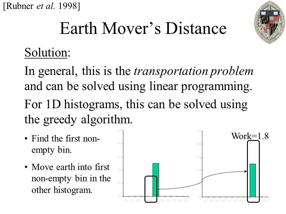 Earth Mover's Distance Solution: In general, this is the transportation problem and can be solved using linear programming. For 1D histograms, this ca
