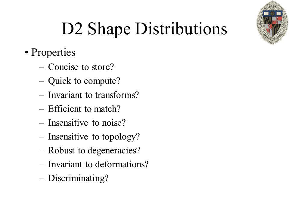D2 Shape Distributions Properties –Concise to store? –Quick to compute? –Invariant to transforms? –Efficient to match? –Insensitive to noise? –Insensi