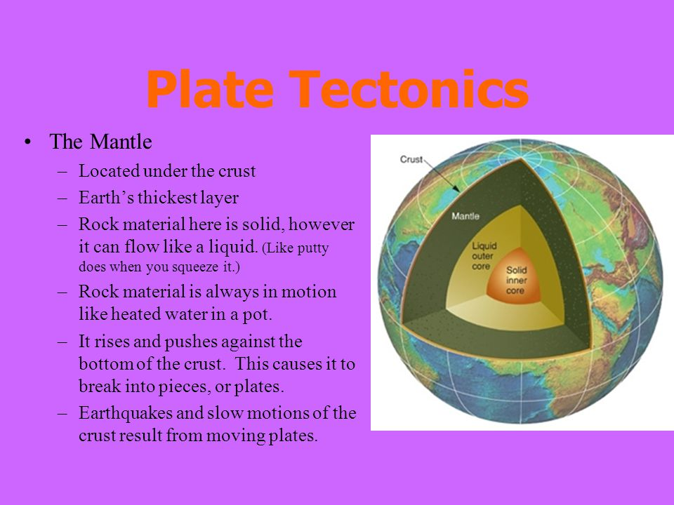 Plate Tectonics The Mantle –Located under the crust –Earth's thickest layer –Rock material here is solid, however it can flow like a liquid. (Like put