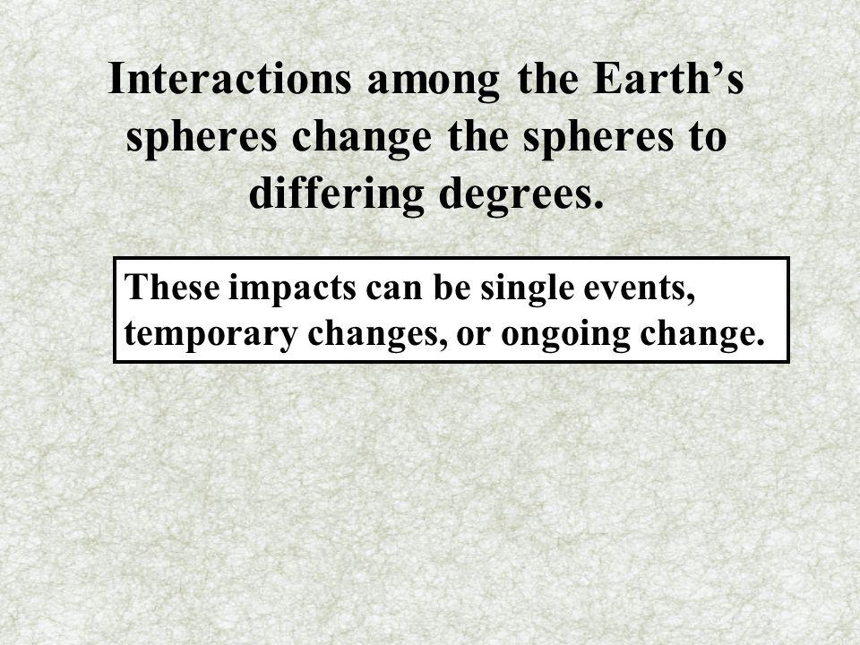 Interactions among the Earth's spheres change the spheres to differing degrees.