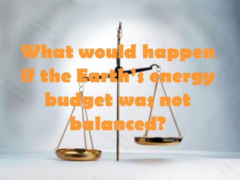 What would happen if the Earth's energy budget was not balanced?