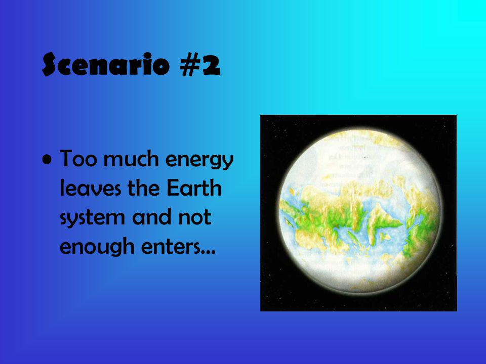 Scenario #2 Too much energy leaves the Earth system and not enough enters…