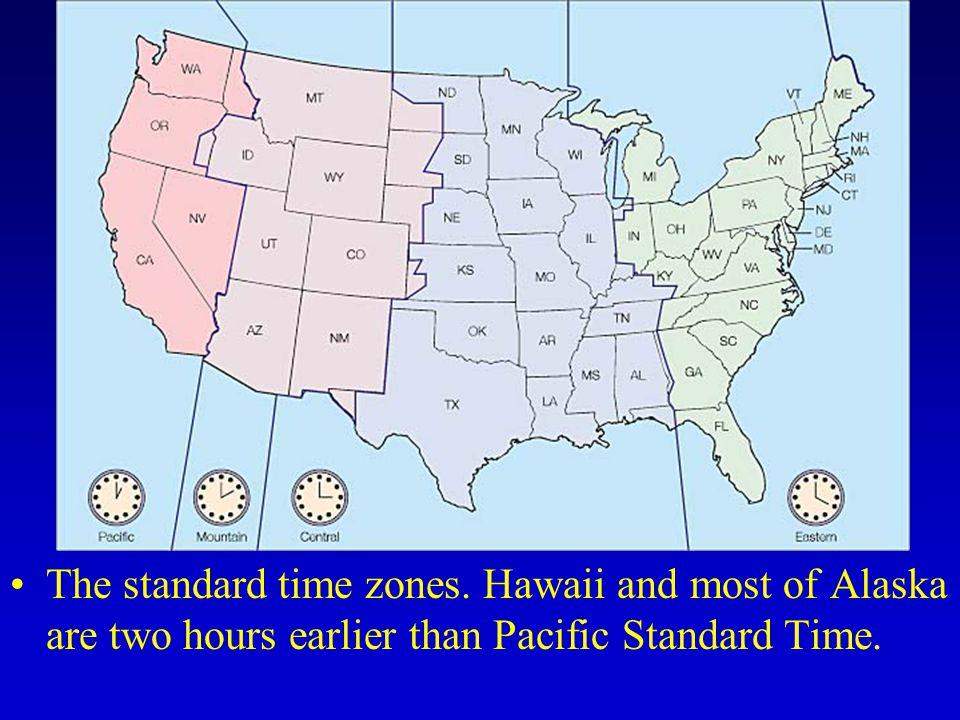 The standard time zones.