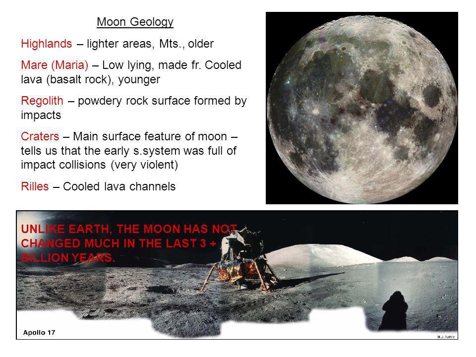 Moon Geology Highlands – lighter areas, Mts., older Mare (Maria) – Low lying, made fr. Cooled lava (basalt rock), younger Regolith – powdery rock surf