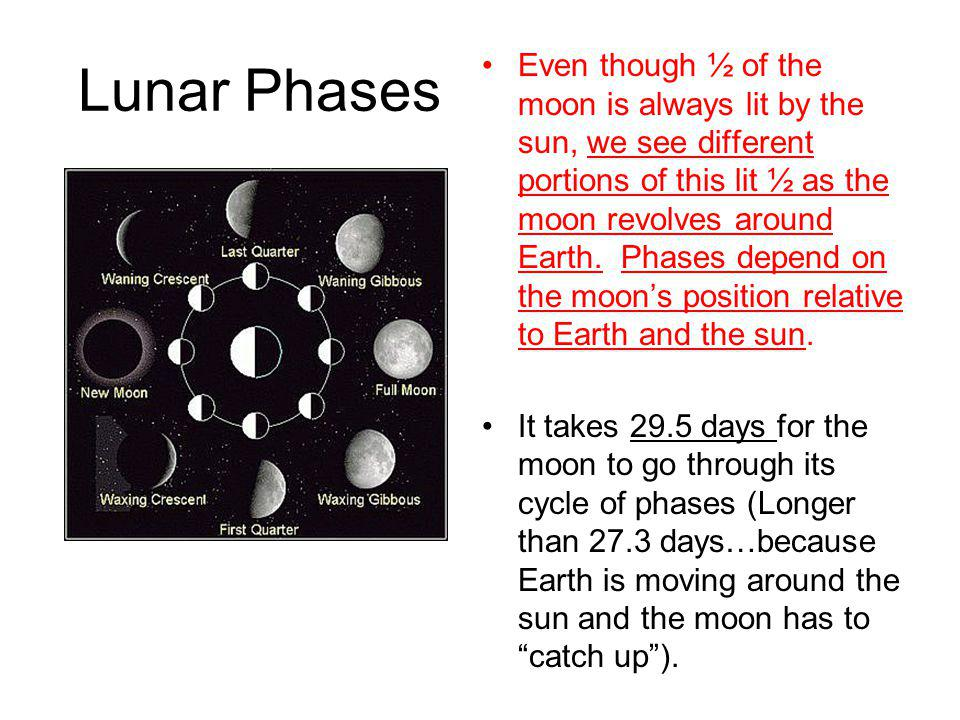 Lunar Phases Even though ½ of the moon is always lit by the sun, we see different portions of this lit ½ as the moon revolves around Earth. Phases dep