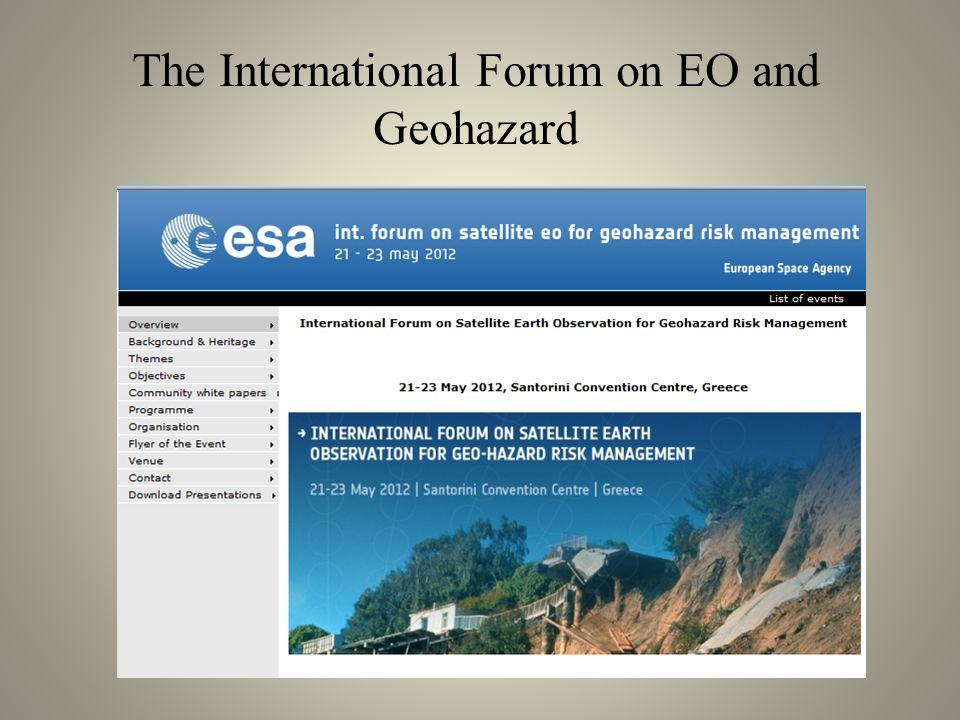 The International Forum on EO and Geohazard