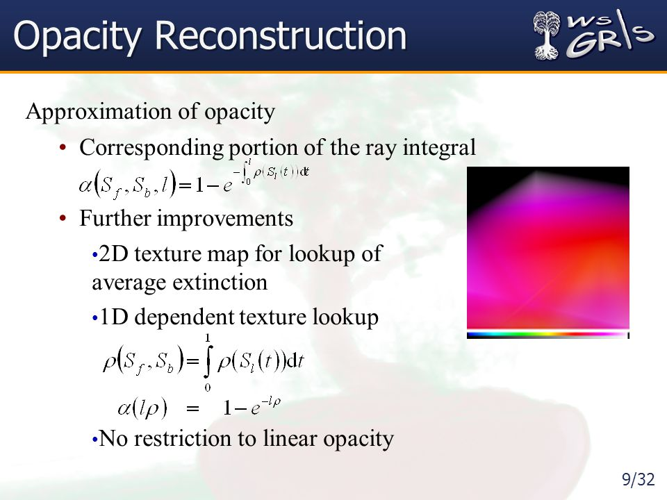 9/32 Opacity Reconstruction Approximation of opacity Corresponding portion of the ray integral Further improvements 2D texture map for lookup of average extinction 1D dependent texture lookup No restriction to linear opacity