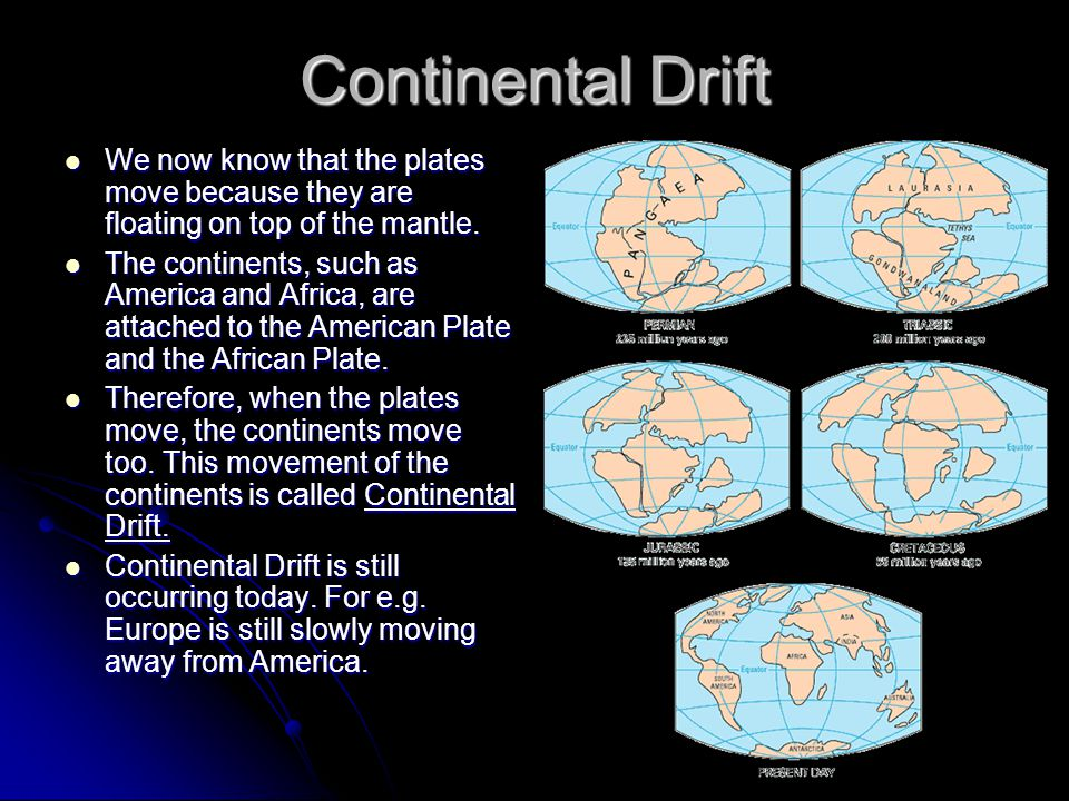 Continental Drift We now know that the plates move because they are floating on top of the mantle. We now know that the plates move because they are f