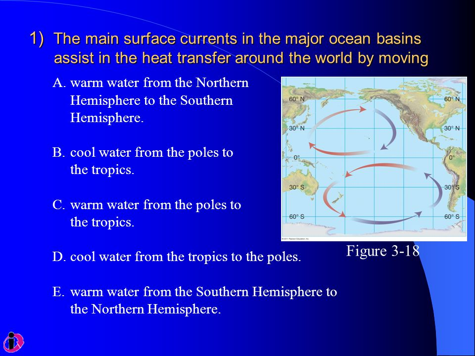 1) The main surface currents in the major ocean basins assist in the heat transfer around the world by moving A.warm water from the Northern Hemispher